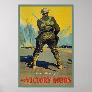 Victory Bonds Back Him Up WWI Propaganda WW1 Poster