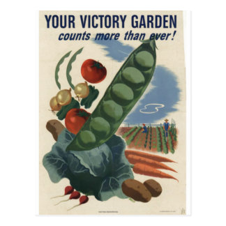 Victory garden poster, World War 2 1945 Postcard