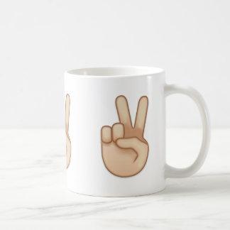 Victory Hand Emoji Coffee Mug