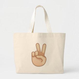 Victory Hand Emoji Jumbo Tote Bag