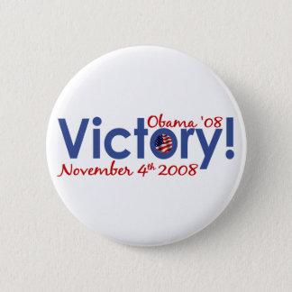 Victory Obama Wins 2008 6 Cm Round Badge