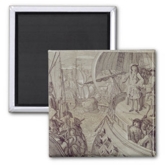Victory of the Navy of Louis XIV Square Magnet