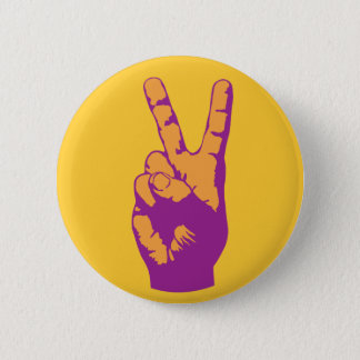 Victory, Peace and Harmony hand symbol 6 Cm Round Badge