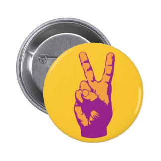Victory, Peace and Harmony hand symbol 6 Cm Round Badge