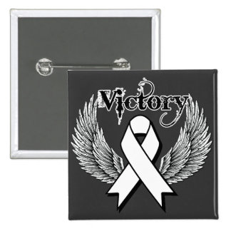 Victory Wings Lung Cancer Pinback Buttons