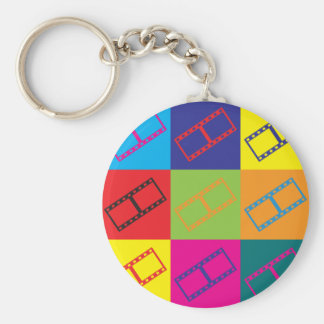 Video Editing Pop Art Basic Round Button Key Ring