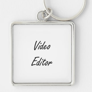 Video Editor Artistic Job Design Silver-Colored Square Key Ring