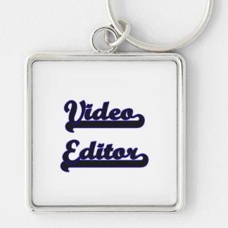 Video Editor Classic Job Design Silver-Colored Square Key Ring