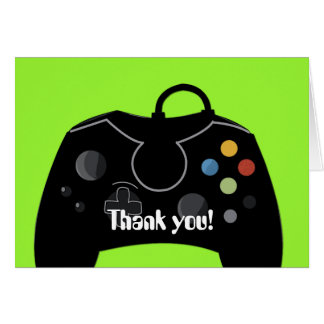 Video Game Birthday Thank you Card Neon Green