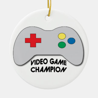 Video Game Champion Round Ceramic Decoration