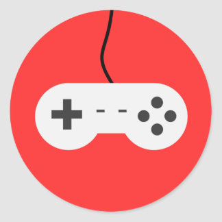 Video Game Controller Adhesive Icon Classic Round Sticker