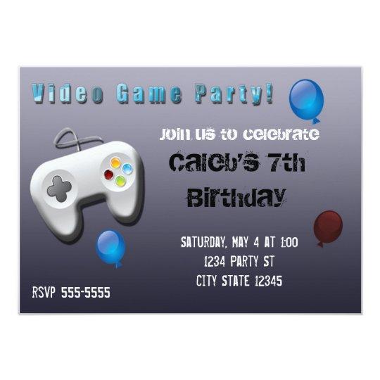 Video Game Gamer Birthday Party Invitation