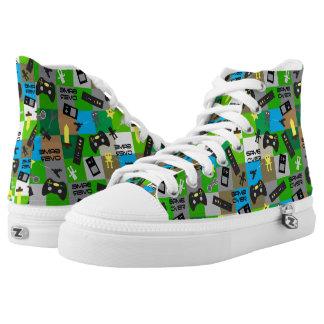 Video Game Gamer Geek Tween Teen Printed Shoes
