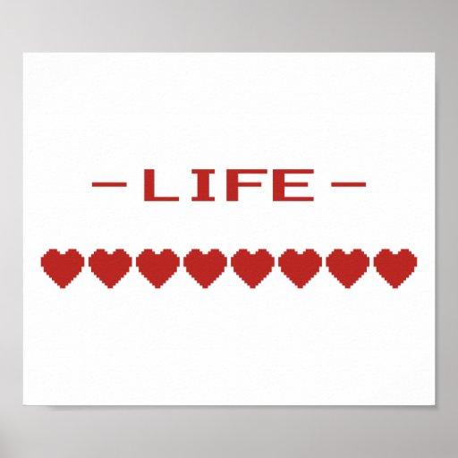 Video Game Heart Life Meter Print