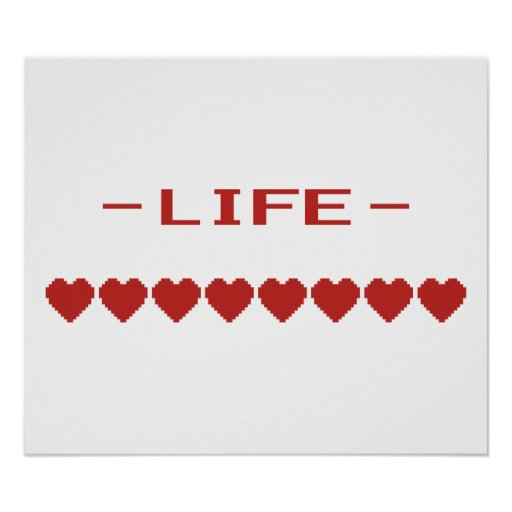 Video Game Heart Life Meter Posters