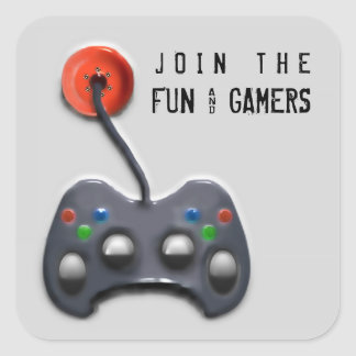 video game party square sticker