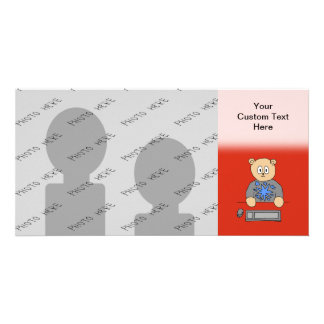 Video Game Player Bear. Customized Photo Card