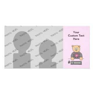 Video Game Player Bear. Photo Card Template