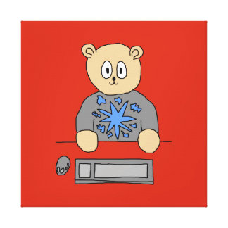 Video Game Player Bear Stretched Canvas Prints