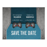 Video Game Save the Date Postcard, Blue Postcard