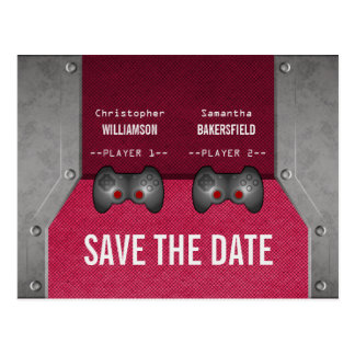 Video Game Save the Date Postcard, Pink Postcard