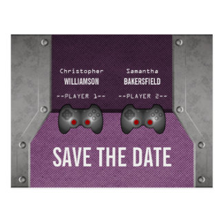Video Game Save the Date Postcard, Purple Postcard