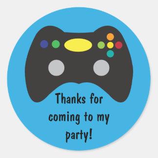 Video Game Truck Birthday Party Favor Round Sticker