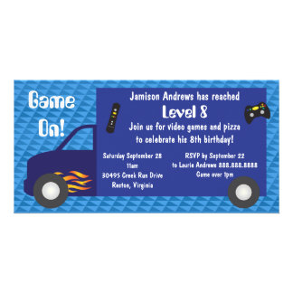 Video Game Truck Birthday Party Invitations Photo Card