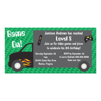 Video Game Truck Birthday Party Invitations Picture Card