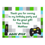 Video Game Truck Birthday Party Thank You Postcard