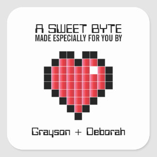 Video Game Wedding Keepsake Sticker RED PIXEL
