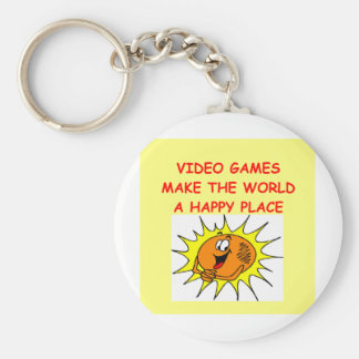 video games basic round button key ring