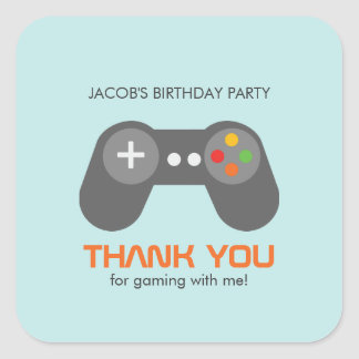 Video Games Birthday Square Sticker