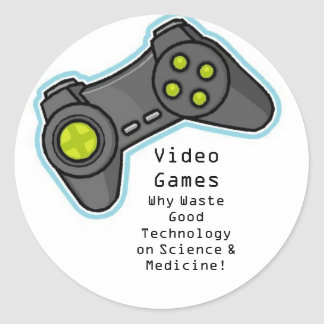 video games classic round sticker