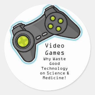 video games round sticker