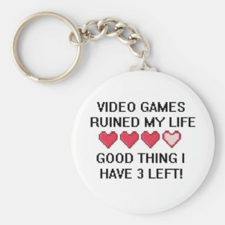Video Games Ruined My Life Style 1 Basic Round Button Key Ring