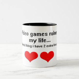 Video Games ruined my life... Two-Tone Mug