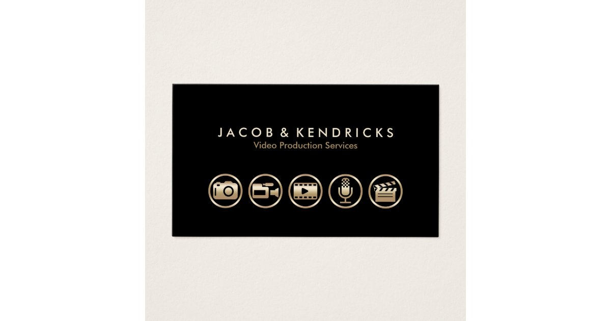 Video Production Services Gold Icons Business Card | Zazzle.co.uk