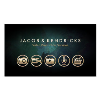 Video Production Services Gold Icons Teal Grunge Pack Of Standard Business Cards