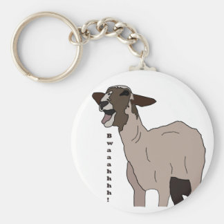 Video star goat screaming! basic round button key ring