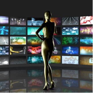 Video Streaming as Technology Concept with Lady Photo Sculpture Decoration