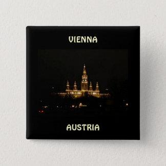 Vienna, Austria at Night 15 Cm Square Badge