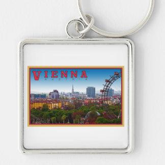 Vienna - Cityscape Silver-Colored Square Key Ring