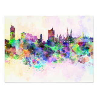 Vienna skyline in watercolor background photo print