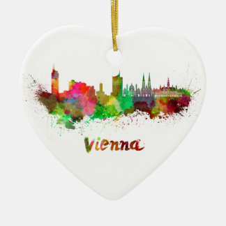 Vienna skyline in watercolor ceramic heart decoration