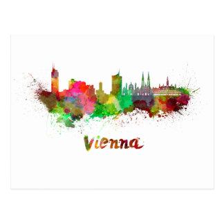 Vienna skyline in watercolor postcard
