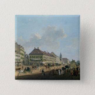 Vienna, the promenade, 1824 (oil on canvas) 15 cm square badge