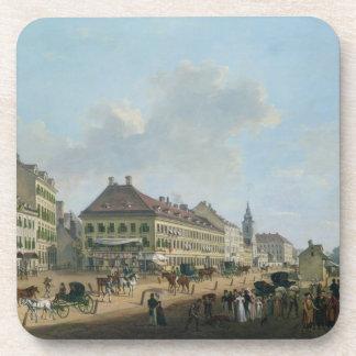 Vienna, the promenade, 1824 (oil on canvas) drink coaster