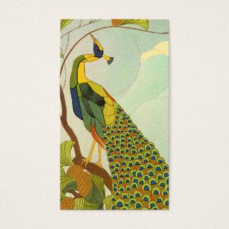 Viennese Art Nouveau Peacock Business Card
