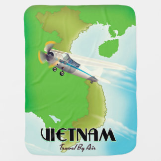 Vietnam by Air vacation print. Baby Blanket